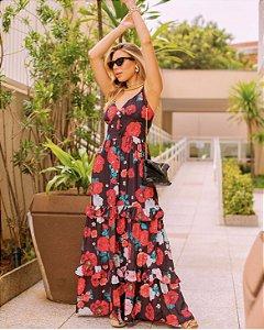 Vestido Fenda Floral