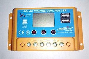 CONTROLADOR DE CARGA SOLAR PWM 10A  12V/24V AUTO SWC10A