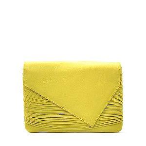Clutch Feminina PPOETA Franjas em Couro Amarelo