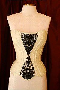 Overbust corset model in pure silk shantung- TAMANHO PADRÃO OUTLET