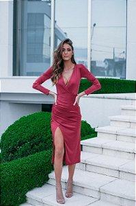 Vestido Midi Barbara marsala