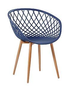 Cadeira com Braço Polipropileno Monaco Azul Marino