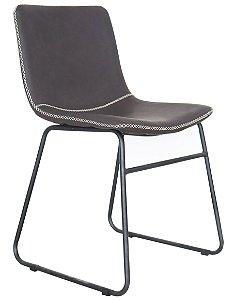 Cadeira Oxford Estofada Cinza Base Aço