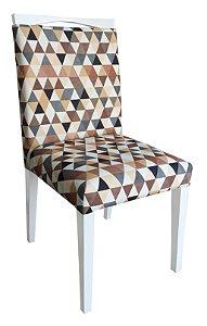 Cadeira Estofada de Jantar em Madeira Maciça Laqueada Branca