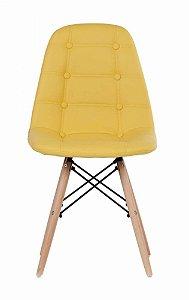 Cadeira Dkr Charles Eames Estofada Botonê - Amarela