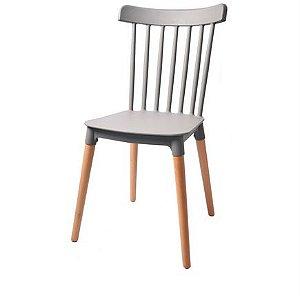 Cadeira Roma Windsor Polipropileno Cinza Base Madeira