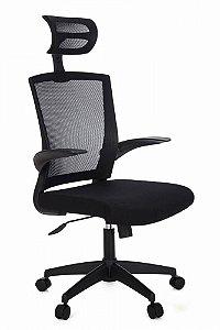 Cadeira de Escritório Presidente em Tela Preta Articulada