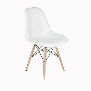 Cadeira Dkr Charles Eames Estofada Botonê - Branca