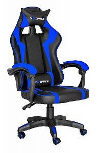 Cadeira Gamer Gp Office Reclinável Azul e Preto