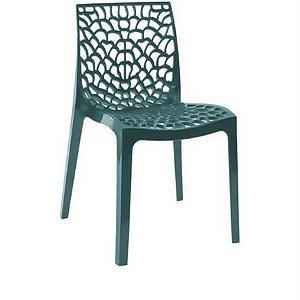 Cadeira Gruvyer Azul petróleo em Polipropileno Vazada