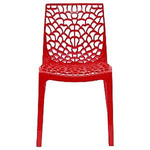 Cadeira Gruvyer Vermelha em Polipropileno Vazada