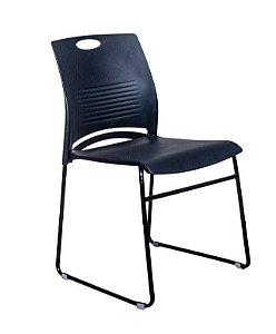 Cadeira Interlocutor Verona Preta Base Aço