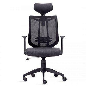 Cadeira Presidente Ergonômica em tela Preta Aika - Casa e Cadeira
