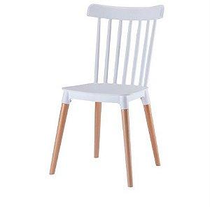 Cadeira Roma Windsor Polipropileno Branca Base Madeira