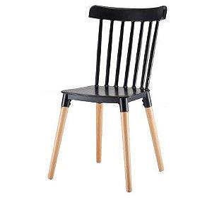 Cadeira Roma Windsor Polipropileno Preta Base Madeira