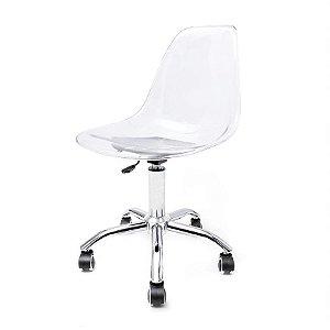Cadeira Charles Eames Office Giratória Transparente Policarbonato