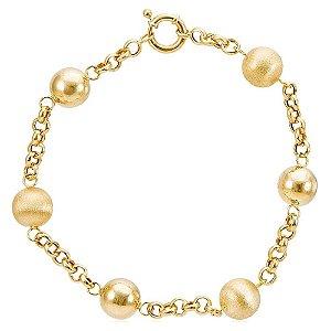 Pulseira de Ouro com Esferas Polidas e Acetinadas