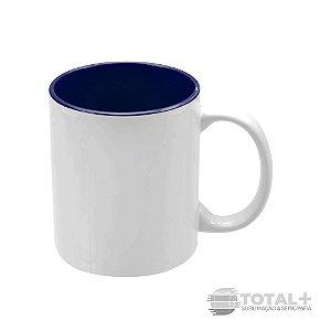 Caneca Branca com Interior Azul Escuro - 325 ml