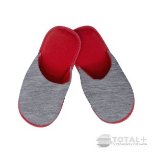 Pantufa Adulto Vermelha e Mescla para sublimação