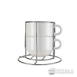 Kit 2 Xícaras Brancas de Ceramica 150ml com + suporte