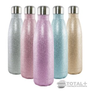 Garrafa Térmica Glitter para Sublimação inox  - 500ml