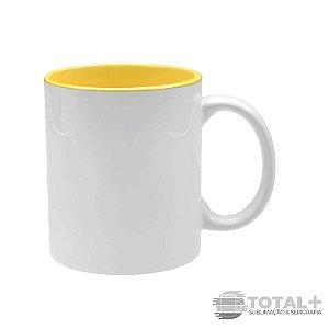 Caneca de Cerâmica Branca Interior Amarelo