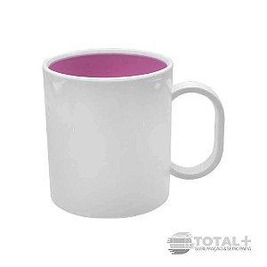 Caneca De Polímero Interior Rosa Chiclete Resinada para Sublimação