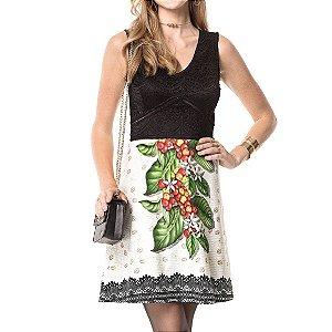Vestido Curto Cavado Flor do Café - Ref.:100838