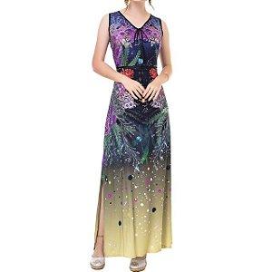 Vestido Longo Céu e Mar Cavado - Ref.:101132