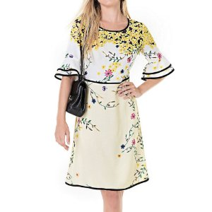Vestido Secretário Flores de Sibipiruna - Ref.:101222