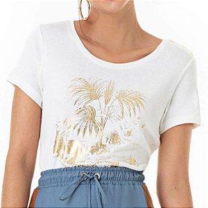 T-shirt Foil Com Palmeiras Douradas - Ref.:025930