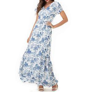 Vestido Longo Manga Curta Gaia - Ref.:105935