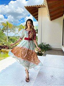 Vestido Midi Patchwork Flor de Laranjeira Ref.: 101713