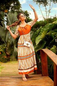 Vestido Maxi M 3/4 Listrado Flor de laranjeira Ref.: 101715