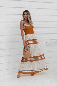 Vestido Maxi M 3/4 Listrado Flor de laranjeira Ref.: 101714