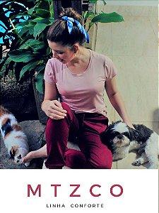 T-shirt Linha Confort  Fita Dourada Lateral- Ref.: 025936 - Rosê