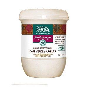 Creme de Massagem Café Verde e Argilas D'agua Natural 650g