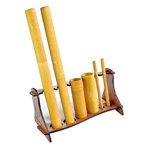 Kit Bambu Com 6 Peças Para Massagem Modeladora com Suporte