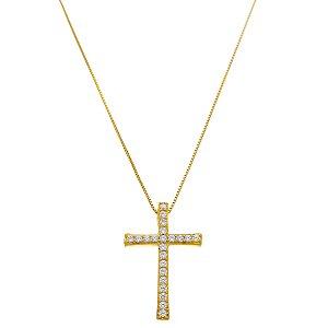 Colar Pingente Crucifixo Vertical Cravejado Em Zircônia Folheado A Ouro
