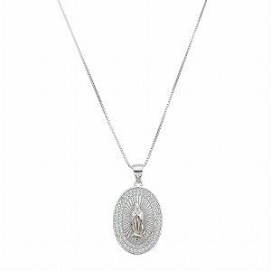 Colar Nossa Senhora Zircônias Em Prata