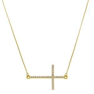 Colar Pingente Crucifixo Horizontal Cravejado Em Zircônia Folheado A Ouro