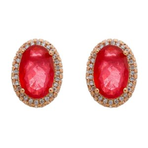Brinco Oval Pedra Folheado A Rosê