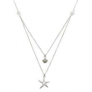 Colar Conchas E Estrelas Em Prata