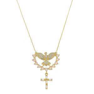 Colar Espírito Santo E Crucifixo Cravejado Em Zircônia Com Meia Lua Rosa Folheado A Ouro