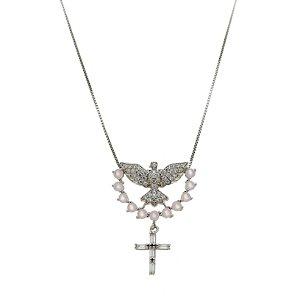 Colar Espírito Santo E Cruz Zircônias Em Prata