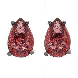 Brinco Semijoia Pedra Ice Fusion Gota Média 12Mm Vermelha Folheado A Ródio Negro