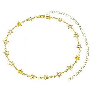 Choker Fun Estrelas Coloridas Folhado A Ouro