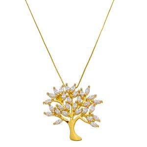 Colar Árvore Zircônia Folhado A Ouro