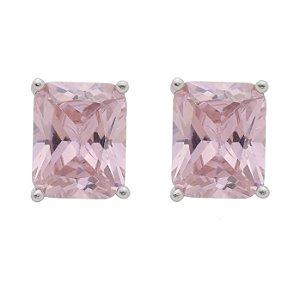 Brinco De Prata Pedra Retangular Rosa
