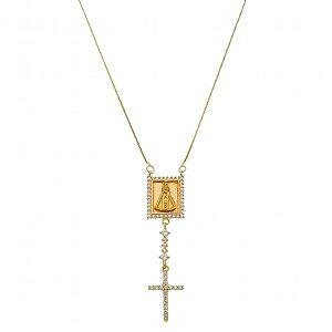 Colar Pingente Nossa Senhora Com Zircônia Folheado A Ouro